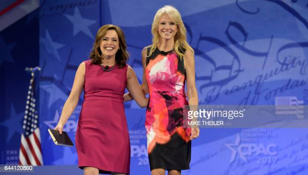 White House advisor Kellyanne Conway walks with CubanAmerican political commentator Mercedes Schlapp as they arrive at the Conservative Political...