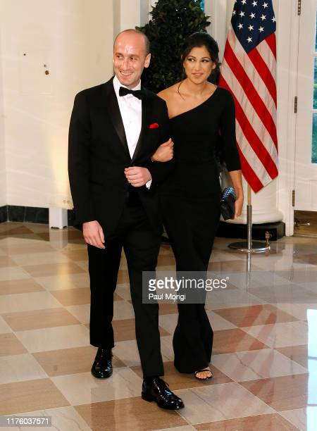 White House advisor Stephen Miller and Katie Waldman arrive for the State Dinner at The White House honoring Australian PM Morrison on September 20...