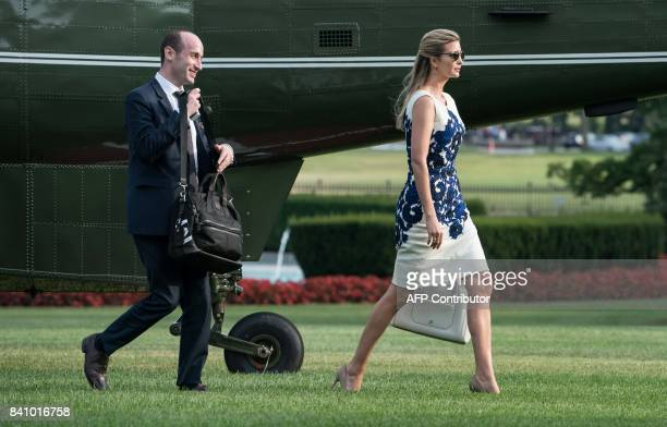 White House advisors Ivanka Trump and Stephen Miller walk to the White House in Washington DC on August 30 2017 upon return from Springfield Missouri...