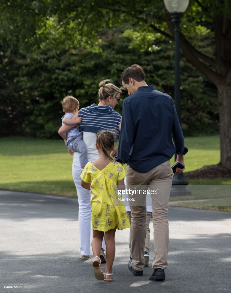 White House advisors Jared Kushner and Ivanka Trump with their children, 6-year-old Arabella, 3-year-old Joseph, and 1-year-old Theodore, walk across the South Lawn, after returning to the White House from a weekend at Camp David, on Sunday, August 27, 2017.