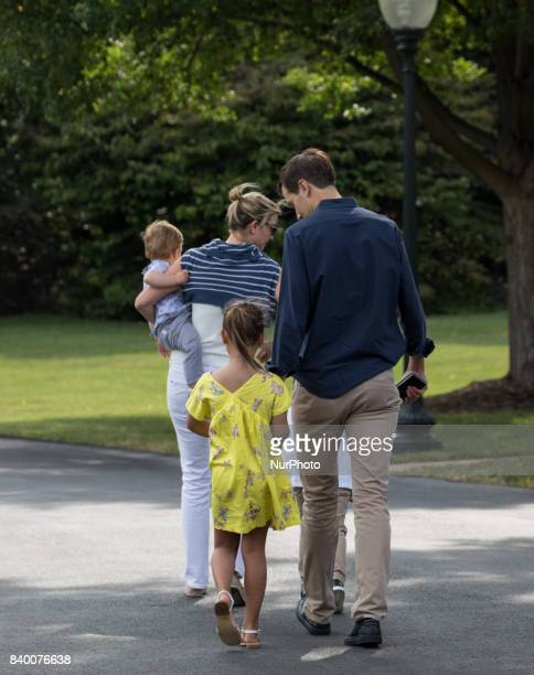White House advisors Jared Kushner and Ivanka Trump with their children 6yearold Arabella 3yearold Joseph and 1yearold Theodore walk across the South...