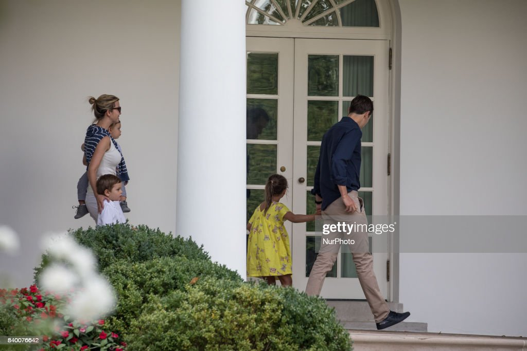 White House advisors Jared Kushner and Ivanka Trump with their children, 6-year-old Arabella, 3-year-old Joseph, and 1-year-old Theodore, walk through the White House Colonnade, after returning to the White House from a weekend at Camp David, on Sunday, August 27, 2017.
