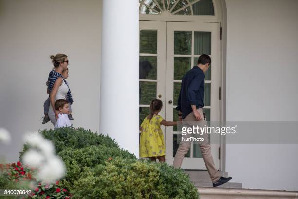 White House advisors Jared Kushner and Ivanka Trump with their children 6yearold Arabella 3yearold Joseph and 1yearold Theodore walk through the...