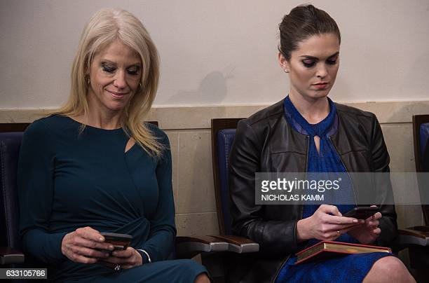 White House advisors Kellyanne Conway and Hope Hicks attend the daily press briefing at the White House in Washington DC on January 30 2017 / AFP /...