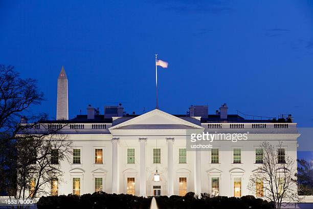 white house at dusk - white house exterior stock pictures, royalty-free photos & images