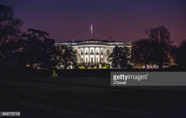 white house at night - white house stock pictures, royalty-free photos & images