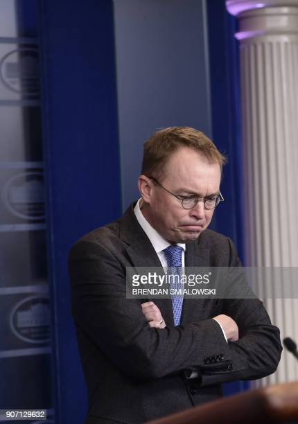 White House budget director Mick Mulvaney discusses the possible government shutdown on January 19 2018 during a press briefing at the White House in...