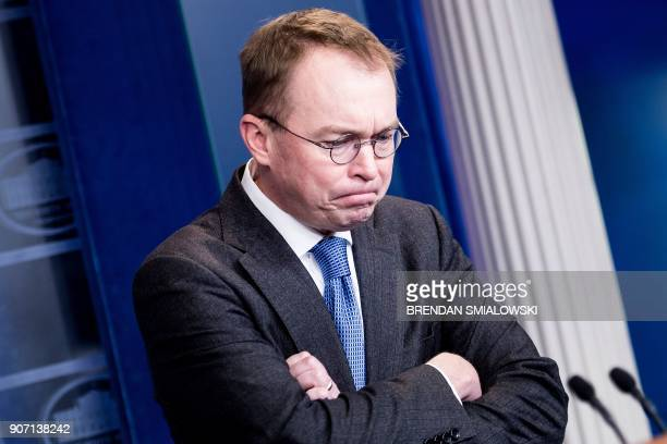TOPSHOT White House budget director Mick Mulvaney discusses the possible government shutdown on January 19 2018 during a press briefing at the White...