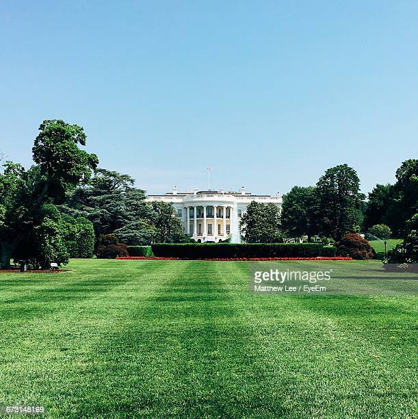 white house by lawn against clear sky - casa branca washington dc - fotografias e filmes do acervo