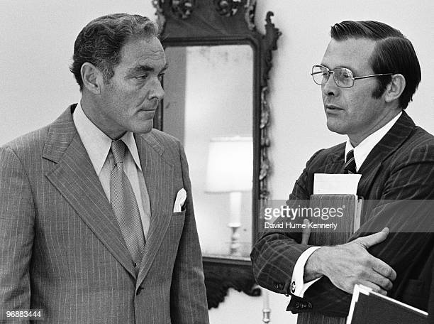 White House Chief of Staff Alexander Haig meets with Donald Rumsfeld head of President Gerald Ford's transition team outside the Oval Office at the...