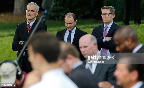 White House Chief of Staff Denis McDonough, Deputy National Security Advisor for strategic communication Ben Rhodes, and White House press secretary...