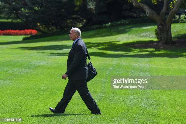 White House chief of staff John F Kelly departs the White House en route to Joint Base Andrews on Friday September 15 in Washington DC