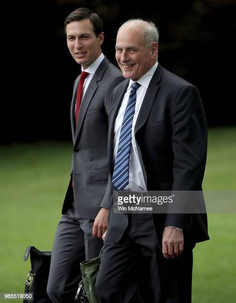 S White House Chief of Staff John Kelly and senior advisor Jared Kushner depart the White House while accompanying US President Donald Trump June 27...