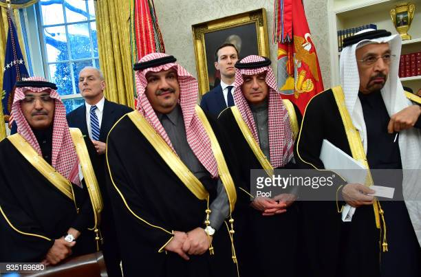 White House Chief of Staff John Kelly and White House Advisor Jared Kushner stand alongside members of the Saudi Delegation as they attend a meeting...