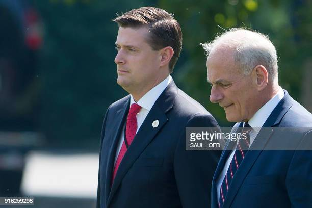 White House Chief of Staff John Kelly and White House Staff Secretary Rob Porter walk to Marine One prior to departure from the South Lawn of the...
