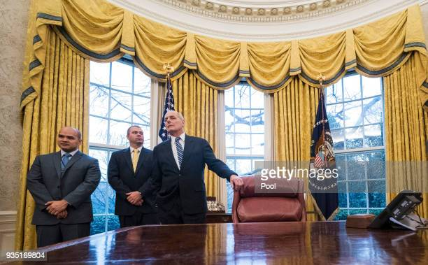 White House Chief of Staff John Kelly attend a meeting with President Donald Trump and Crown Prince Mohammed bin Salman of the Kingdom of Saudi...