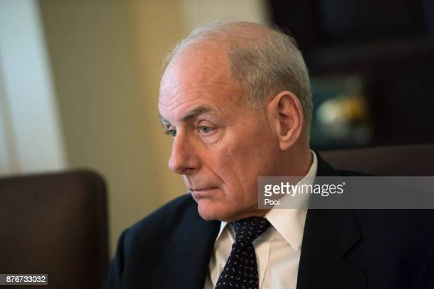 White House Chief of Staff John Kelly attends a cabinet meeting with President Donald Trump at the White House on November 20 2017 in Washington DC...