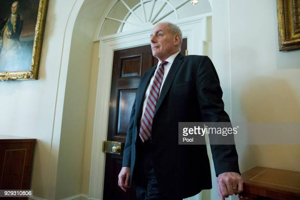 White House Chief of Staff John Kelly attends a meeting held by US President Donald J Trump with members of his Cabinet in the Cabinet Room of the...