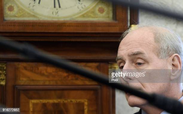 White House Chief of Staff John Kelly attends a meeting in the Oval Office of the White House February 9 2018 in Washington DC President Donald Trump...