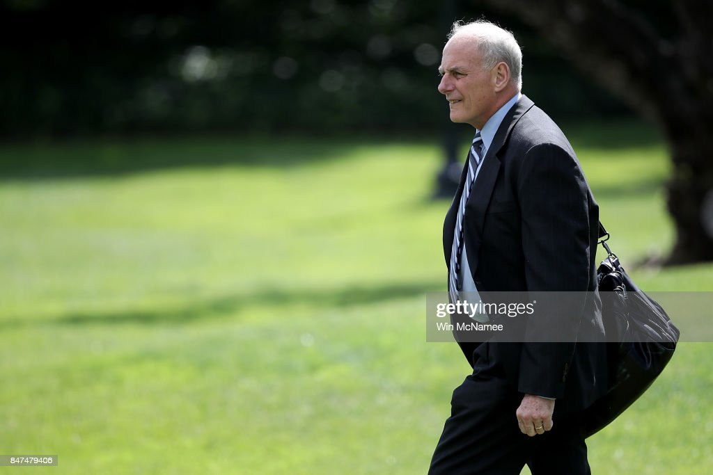 White House Chief of Staff John Kelly departs the White House on September 15, 2017 in Washington, DC. U.S. President Donald Trump is scheduled to spend the weekend in New Jersey and next week in New York City attending the United Nations General Assembly.