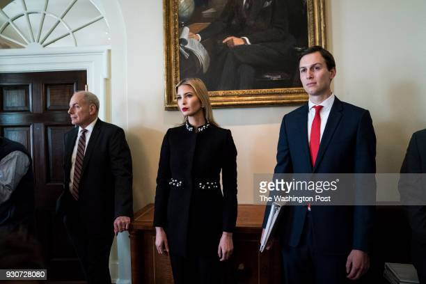 White House Chief of Staff John Kelly Ivanka Trump and White House senior adviser Jared Kushner listen as President Donald Trump speaks during a...
