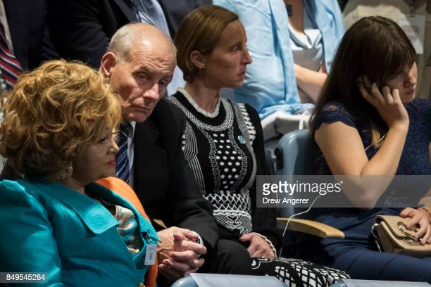 White House Chief of Staff John Kelly listens as US President Donald Trump addresses the United Nations General Assembly at UN headquarters September...