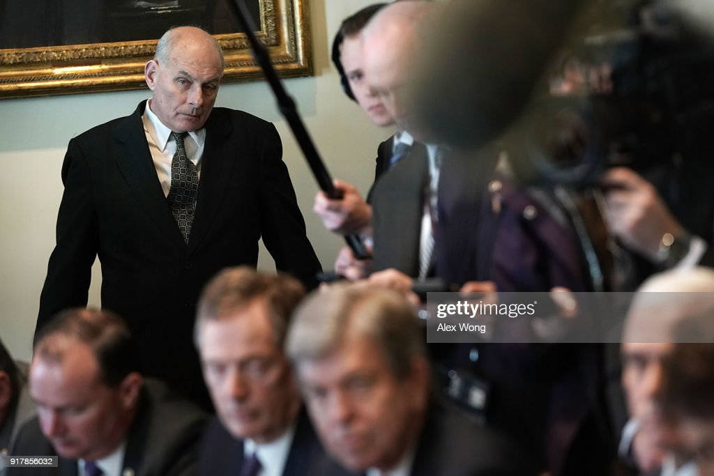 White House Chief of Staff John Kelly listens during a meeting between President Donald Trump and congressional members in the Cabinet Room of the White House February 13, 2018 in Washington, DC. President Trump held a meeting with congressional members to discuss trade.
