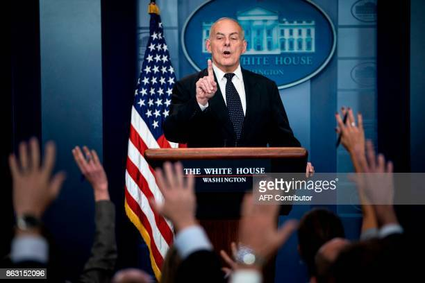 White House Chief of Staff John Kelly speaks about President Trump's calls to fallen service members next of kin during a briefing at the White House...