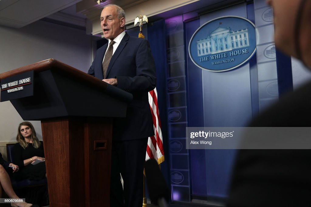 White House Chief of Staff John Kelly speaks during a daily news briefing at the James Brady Press Briefing Room of the White House October 12, 2017 in Washington, DC. In a rare appearance Kelly stated he had no plans to resign or reason to believe he would be fired.