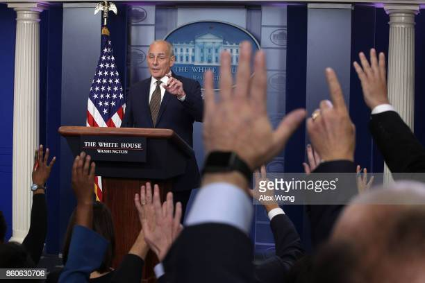 White House Chief of Staff John Kelly speaks during a daily news briefing at the James Brady Press Briefing Room of the White House October 12 2017...