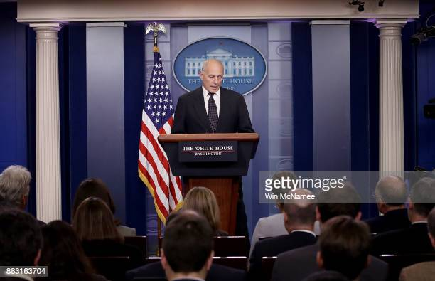 White House Chief of Staff John Kelly speaks during a White House briefing October 19 2017 in Washington DC Kelly spoke about the process of the...