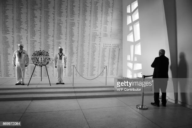 White House Chief of Staff John Kelly stands alone at the USS Arizona Memorial on November 3 at Pearl Harbor in Honolulu Hawaii after US President...