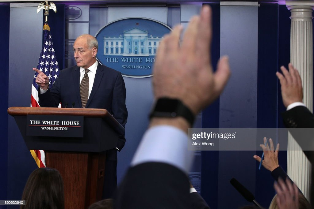 White House Chief of Staff John Kelly takes questions during a daily news briefing at the James Brady Press Briefing Room of the White House October 12, 2017 in Washington, DC. In a rare appearance at the news briefing Kelly stated he had no plans to resign or reason to believe he would be fired.