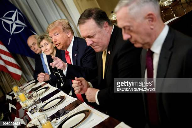 White House Chief of Staff John Kelly US Ambassador to NATO Kay Bailey Hutchison US President Donald Trump US Secretary of State Mike Pompeo and US...
