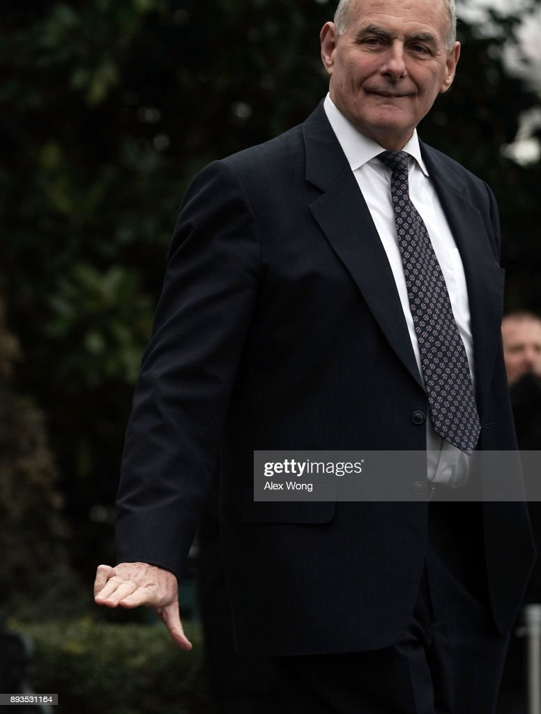 White House Chief of Staff John Kelly walks towards the Marine One prior to a departure from the South Lawn of the White House December 15, 2017 in Washington, DC. President Trump is heading to FBI National Academy in Quantico, Virginia, to attend a graduation ceremony and visit the Marine Helicopter Squadron One. Then, he will travel to Camp David for the weekend.