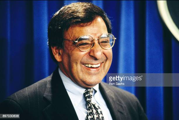 White House Chief of Staff Leon Panetta laughs as he talks with reporters in the Brady Press Briefing Room of the White House Washington DC January 5...