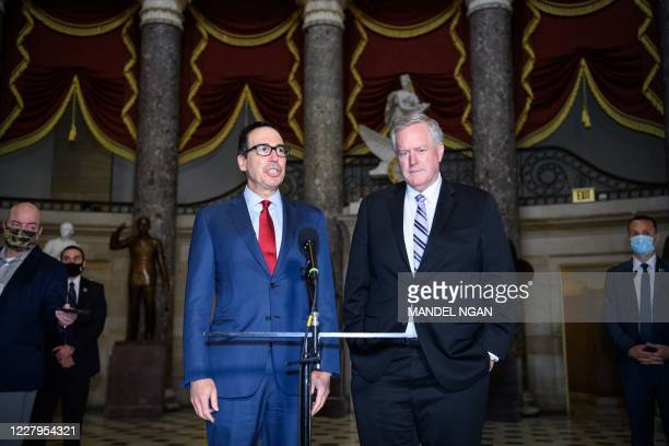 White House Chief of Staff Mark Meadows and US Treasury Secretary Steve Mnuchin speak to the media after meeting with the US Senate Minority Leader...