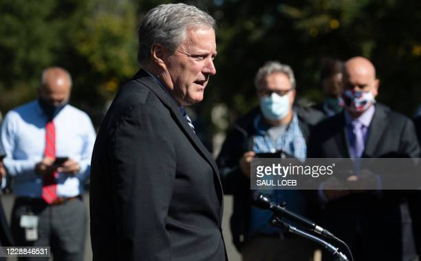 White House Chief of Staff Mark Meadows speaks to the media about US President Donald Trump at the White House in Washington, DC, October 2, 2020. -...