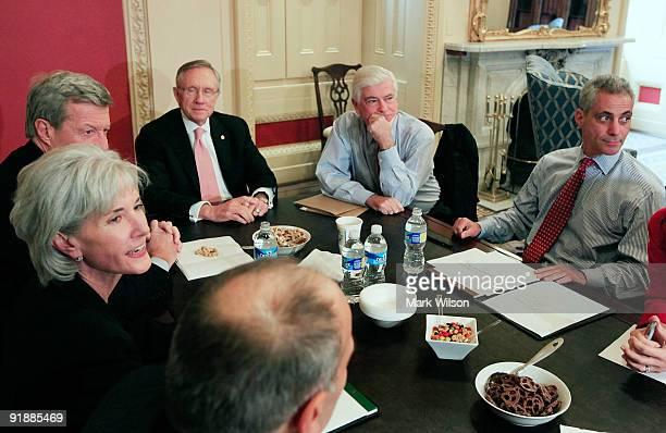 White House Chief of Staff Rahm Emanuel attends a meeting with Phil Schiliro Director legislative affairs HHS Secretary Kathleen Sebelius Senate...