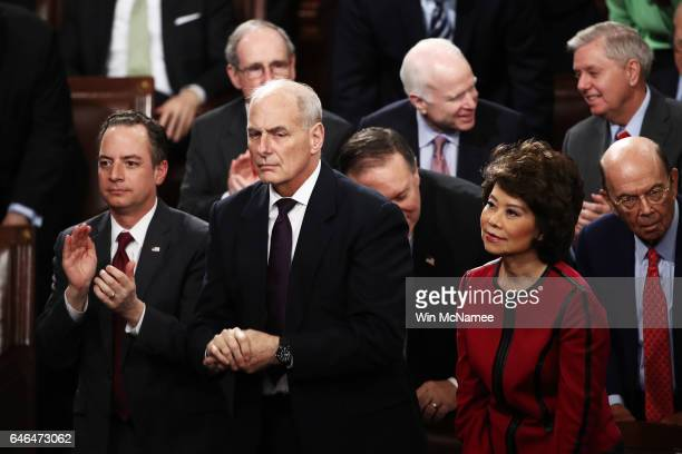 White House Chief of Staff Reince Priebus Homeland Security Secreary John Kelly and Transporation Secretary Elaine Chao attend US President Donald...