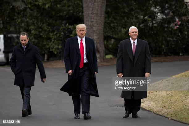 White House Chief of Staff Reince Priebus President Donald Trump and Vice President Mike Pence walk on their way to greet Harley Davidson executives...