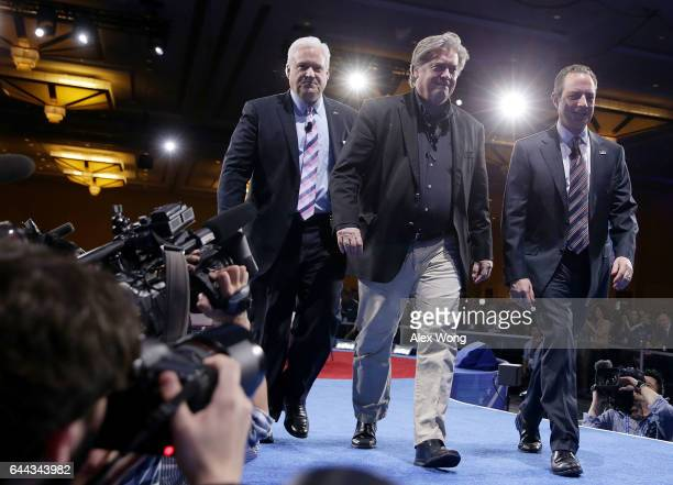 White House Chief of Staff Reince Priebus White House Chief Strategist Steve Bannon and American Conservative Union Chairman Matt Schlapp leave after...