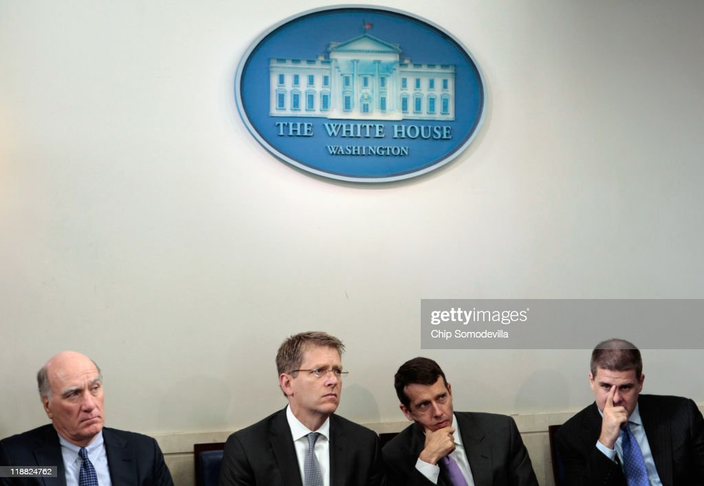 White House Chief of Staff William Daley, Press Secretary Jay Carney, Senior Advisor David Plouffe and Communications Director Daniel Pfeiffer listen to U.S. President Barack Obama during a news conference at the Brady Press Briefing Room at the White House July 11, 2011 in Washington, DC. Obama discussed the ongoing budget and debit limit negotiations with Congressional Republicans and Democrats.