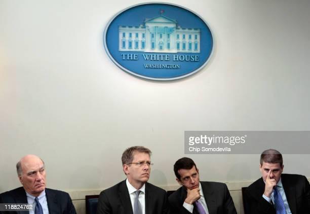 White House Chief of Staff William Daley, Press Secretary Jay Carney, Senior Advisor David Plouffe and Communications Director Daniel Pfeiffer listen...
