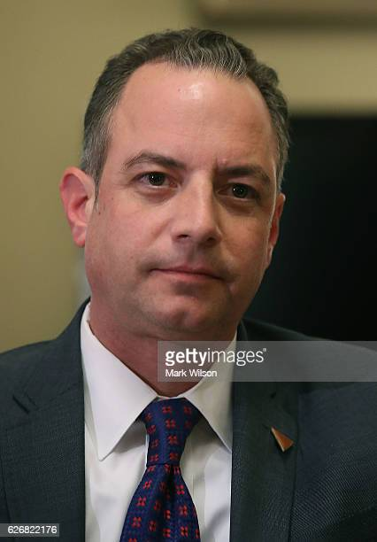 White House Chief of Staffelect Reince Priebus House attends a meeting with House Speaker Paul Ryan at the US Capitol December 30 2016 in Washington...