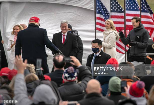 White House Chief spokesperson Kayleigh McEnany , Ivanka Trump and Jared Kushner greet President Donald Trump following a campaign rally on November...