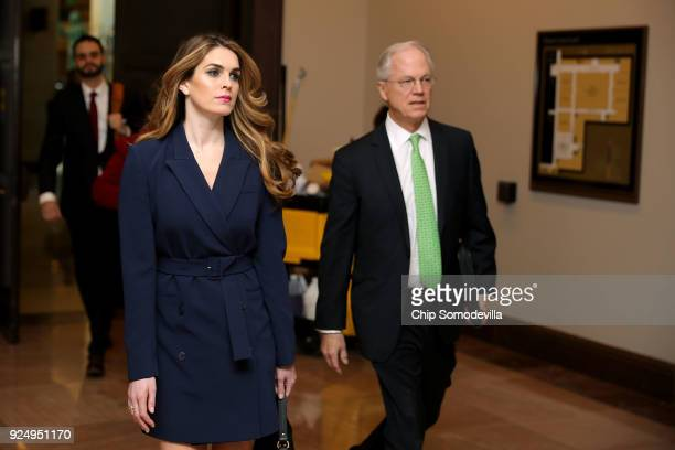 White House Communications Director and presidential advisor Hope Hicks arrives at the US Capitol Visitors Center February 27 2018 in Washington DC...