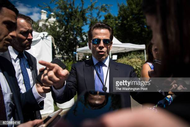 White House communications director Anthony Scaramucci talks with reporters and members of the media outside the West Wing at the White House in...