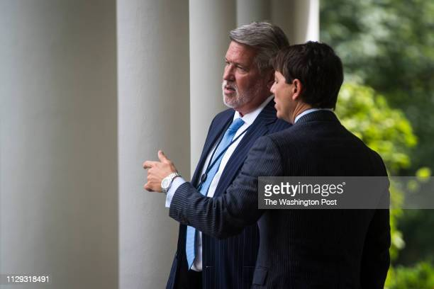 White House Communications Director Bill Shine and White House Deputy Press Secretary Hogan Gidley arrive before President Donald J Trump and...