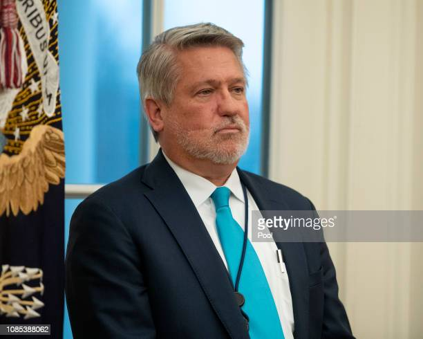 White House Communications Director Bill Shine looks on as United States President Donald J Trump hosts a naturalization ceremony in the Oval Office...